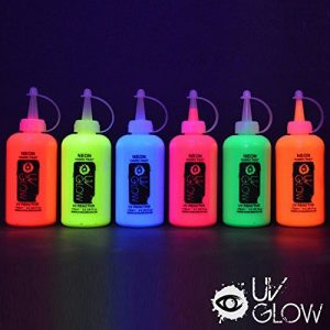 Image for UV Glow Blacklight Neon Fabric Paint - Set of 6